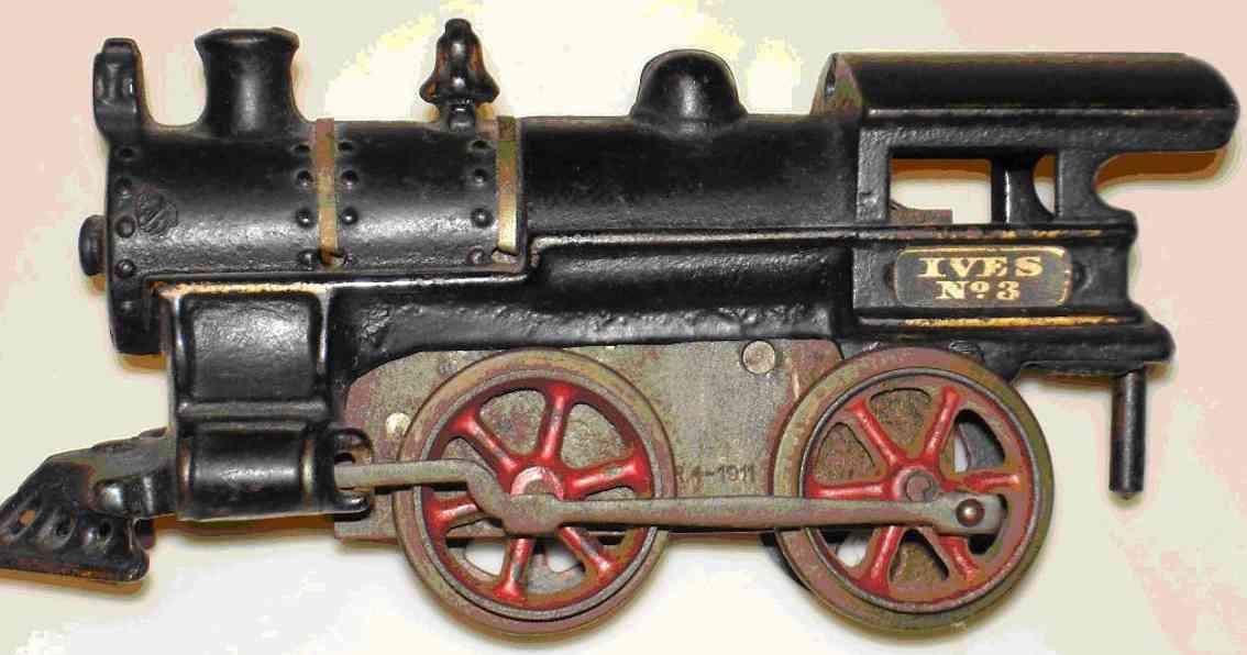 ives 3 (1912) spielzeug eisenbahn lokomotive uhrwerklokomotive aus gußeisen, schwarz handbemalt mit strei