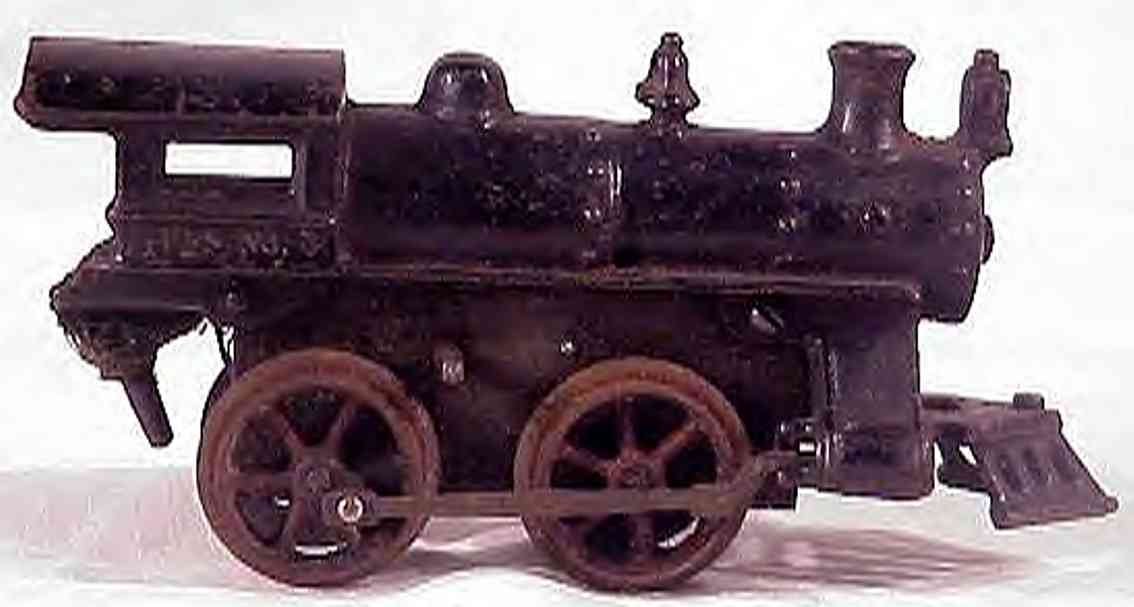 ives 3 (1913) spielzeug eisenbahn lokomotive uhrwerklokomotive aus gußeisen, schwarz handbemalt ohne stre