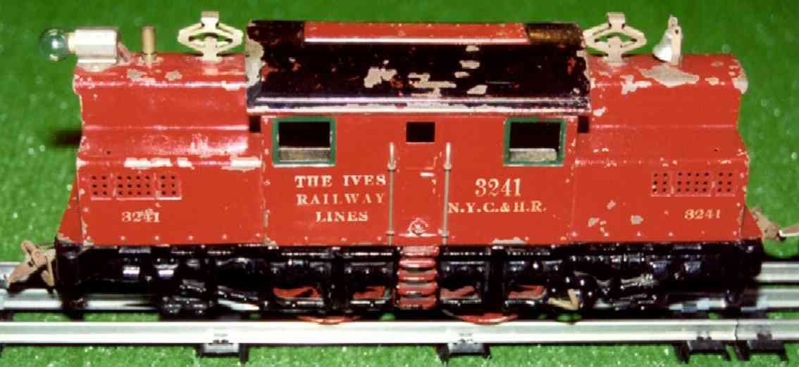 ives 3242 1921 railway toy engine electric locomotive in red  3241 nyc & hr wide gauge