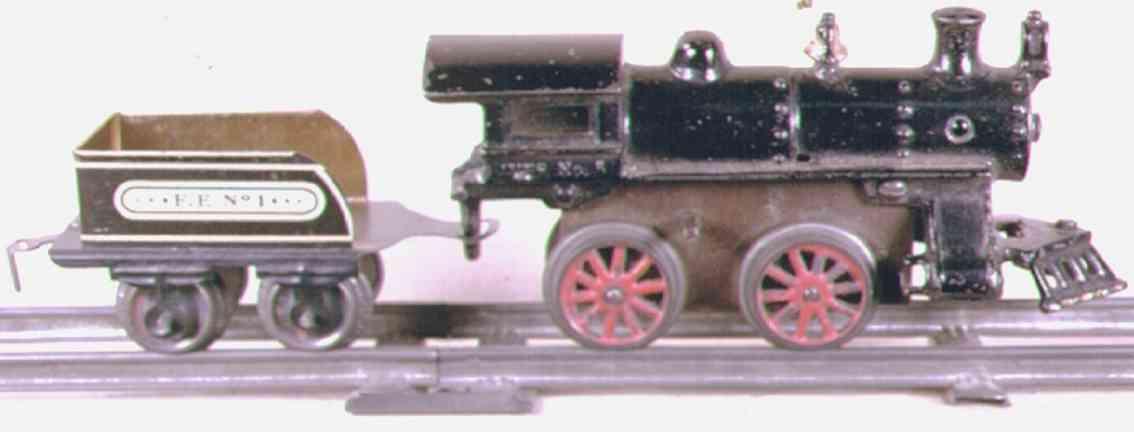 ives 5 1914 spielzeug eisenbahn uhrwerklokomotive gusseisen schwarz spur 0
