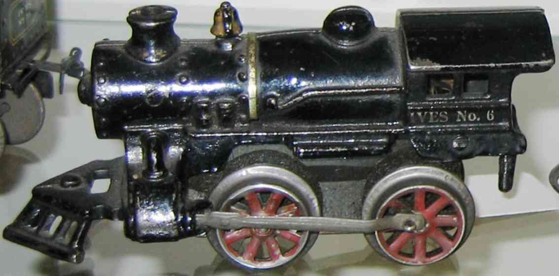 ives 6 (1922) railway toy engine clockwork locomotive of cast iron , in black hand painted wi