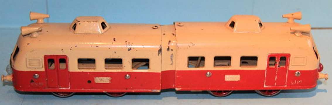 jep spielzeug eisenbahn lokomotive kleiner 2-teiliger triebwagen; 4-achsig; rot und creme litho