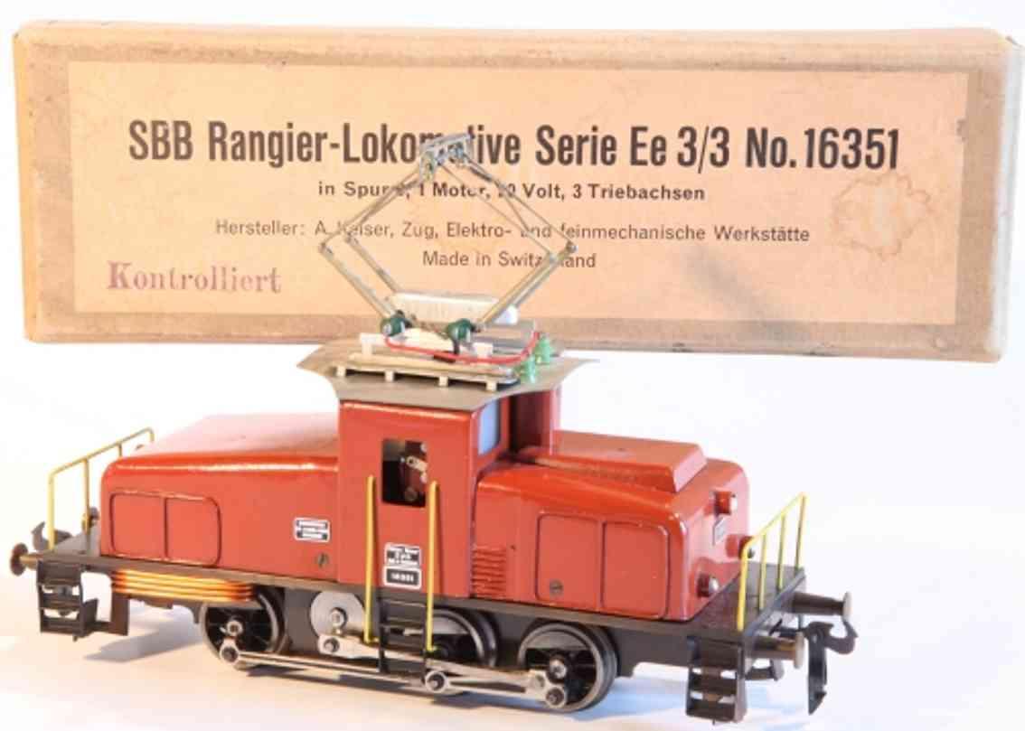 keiser alois 16351 spielzeug eisenbahn lokomotive 20 volt elektrolokomotive achsfolge c, ee 3/3 der sbb, in br