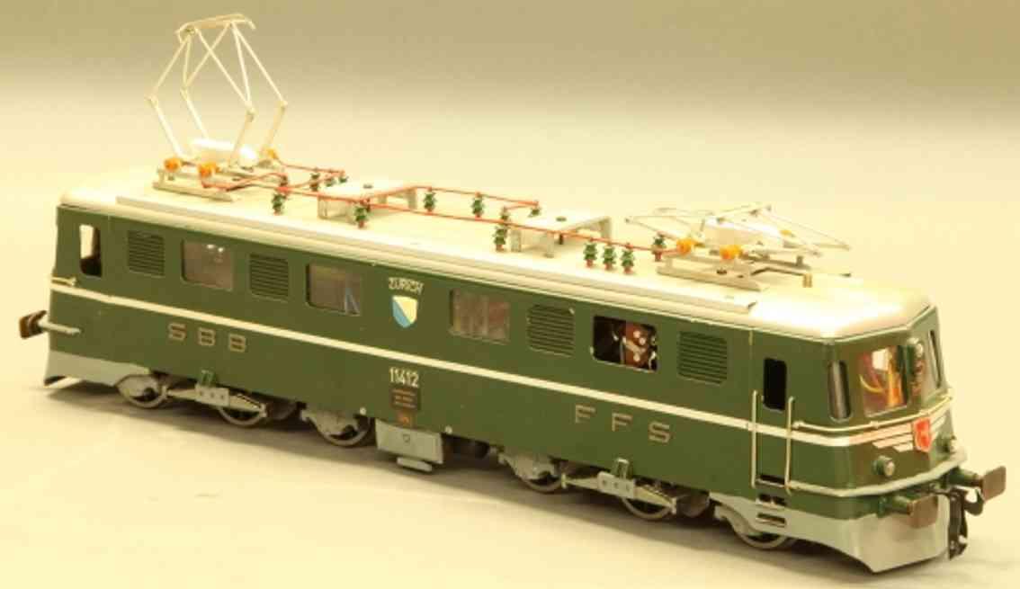keiser alois spielzeug eisenbahn lokomotive kantons elektrolokomotive c0'c0' der sbb+cff in grün und sil
