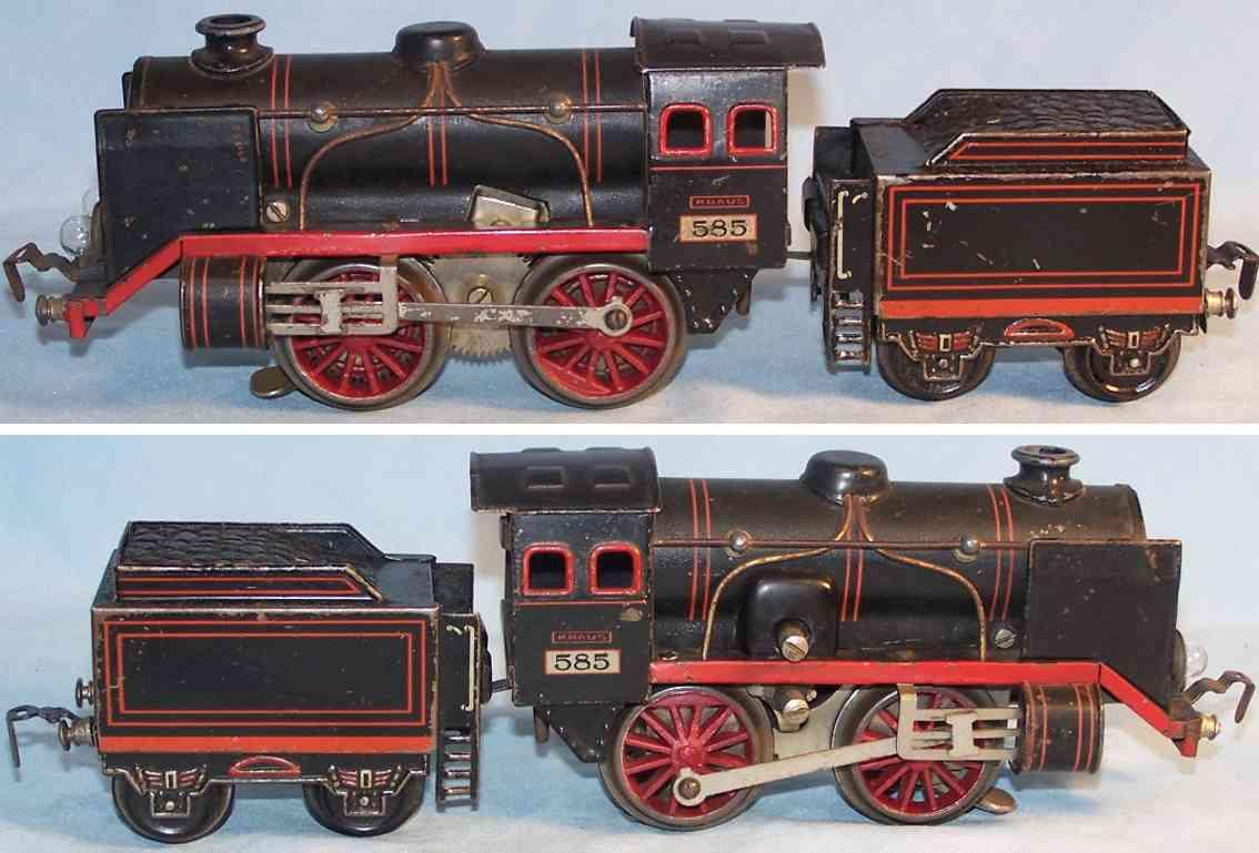 kraus-fandor 585 railway toy engine 20 volts steam locomotive with tender