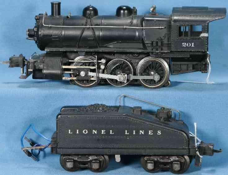 Lionel 201/IV Dampflokomotive mit Tender 2201B