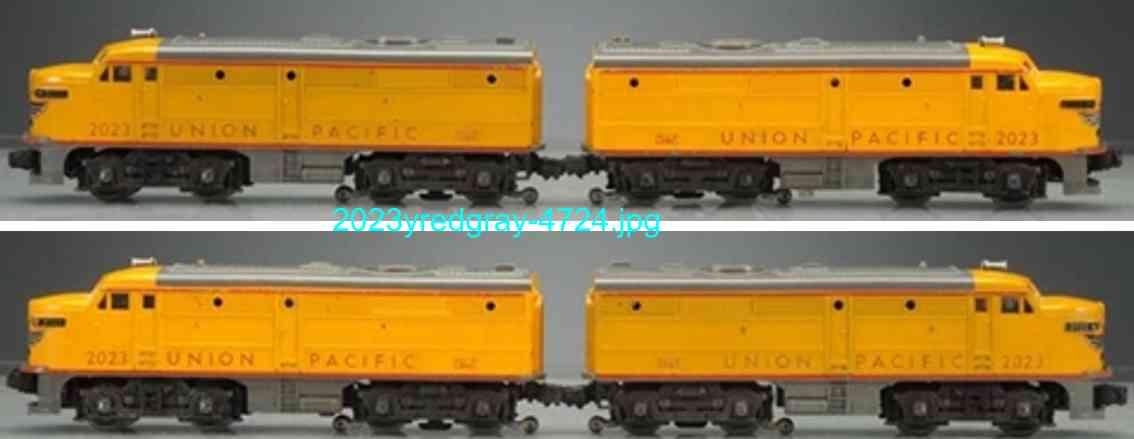 lionel 2023 union pacific fa twin diesel locomotive yello red gray gauge 0