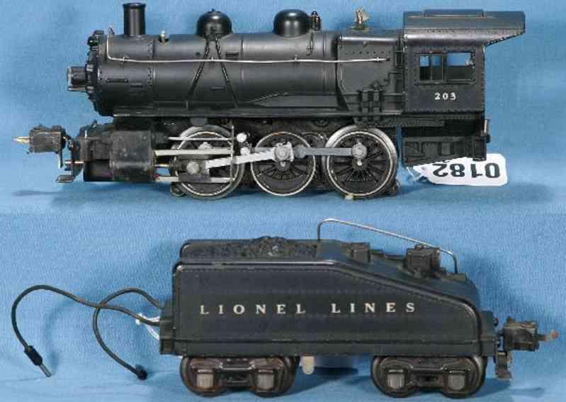 lionel 203 dampflokomotive mit tender 2203 b spur 0
