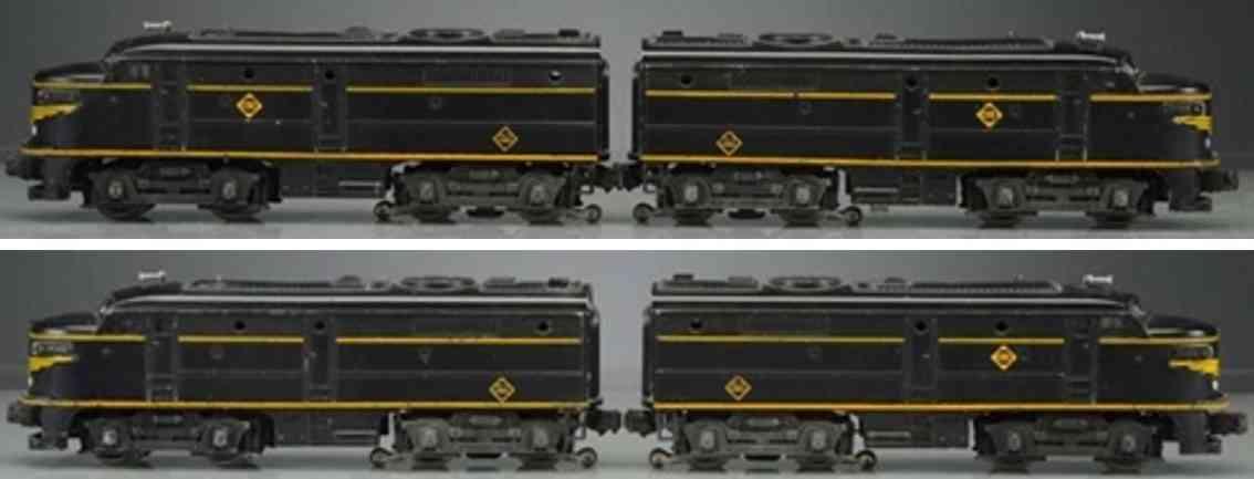 lionel 2032 railway toy engine erie fa diesel locomotive black yellow gauge 0