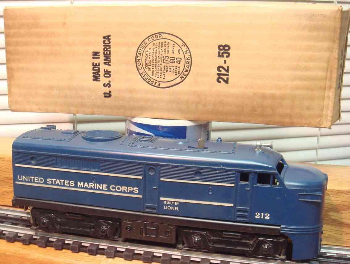 lionel 212 toy engine diesel locomotive united states marine corps fa blue gauge 0