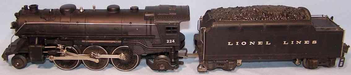 lionel 224 spielzeug eisenbahn lokomotive 2224 tender schwrz spritzguss spur 0