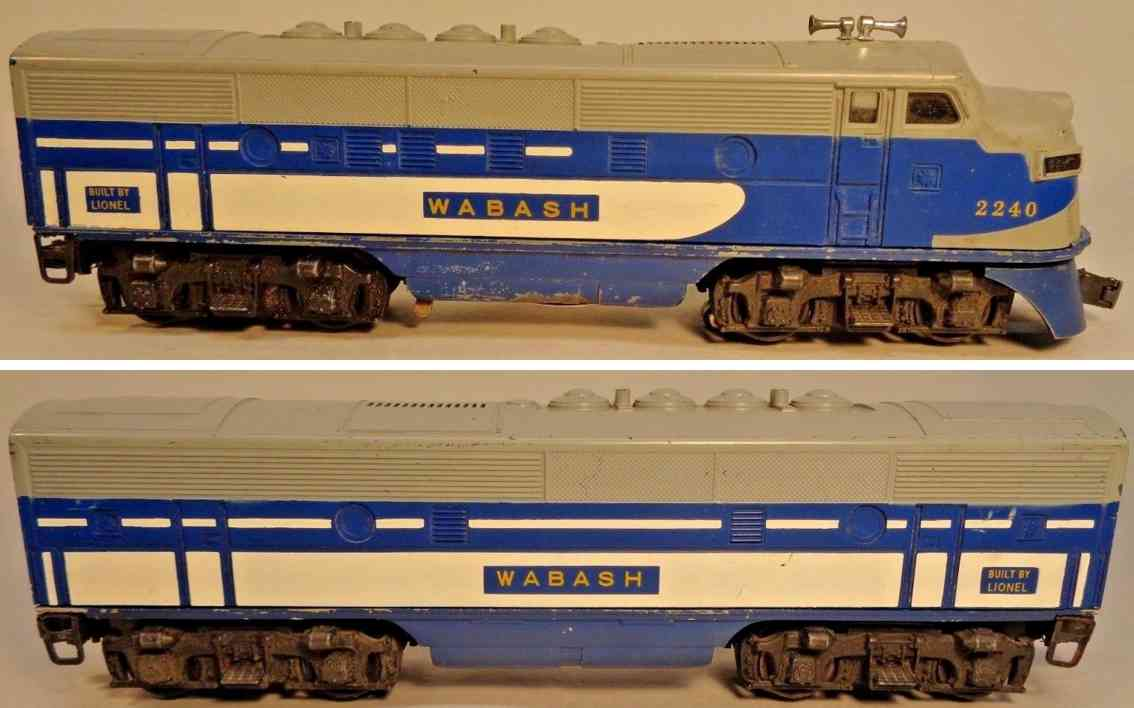lionel 2240 f-3 railway toy engine electric locomotive plastic blue gray white gauge 027