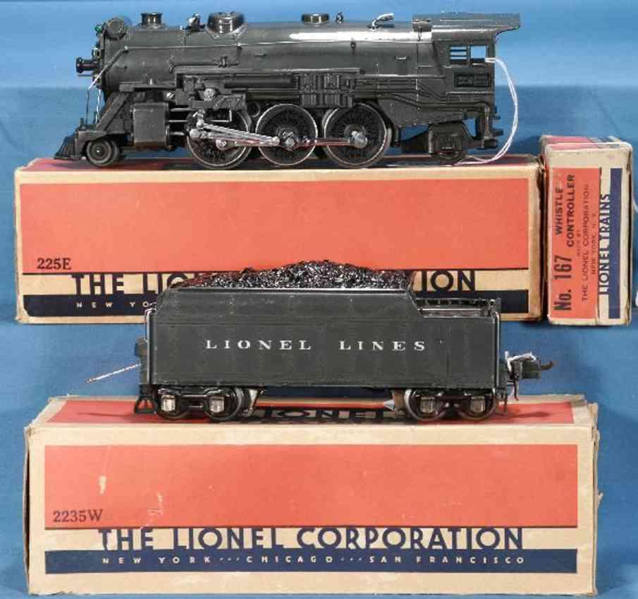 lionel 225e spielzeug eisenbahn lokomotive grau tender 2235w spur 0