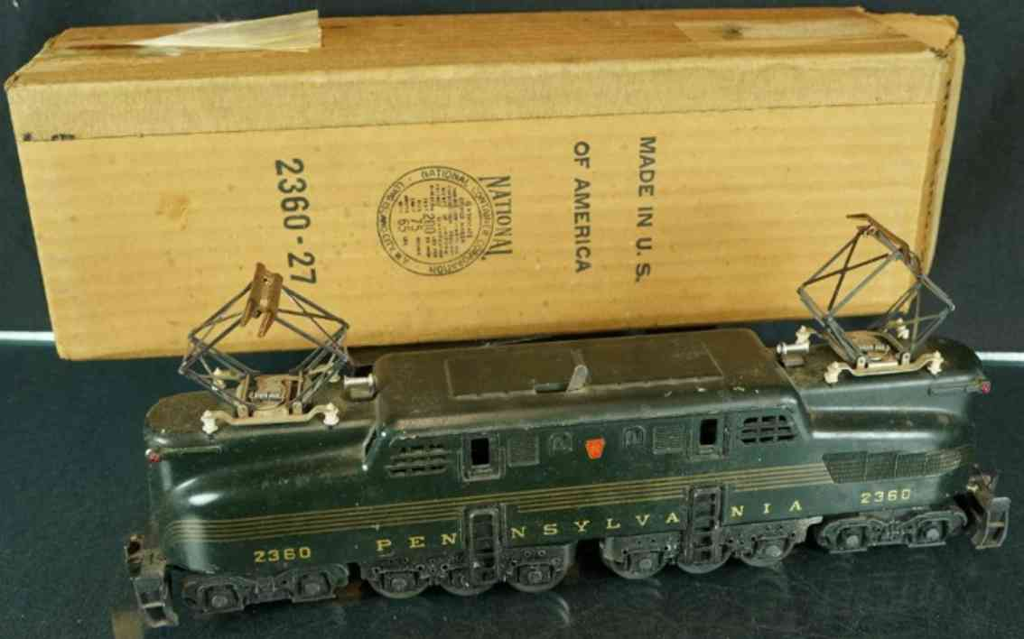 lionel 2360 pennsylvania dark green 5 stripe gg-1 electric locomotive gauge 0