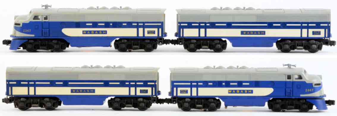 lionel 2367a railway toy engine lionel wabah f-3 and and b unit gray blue white