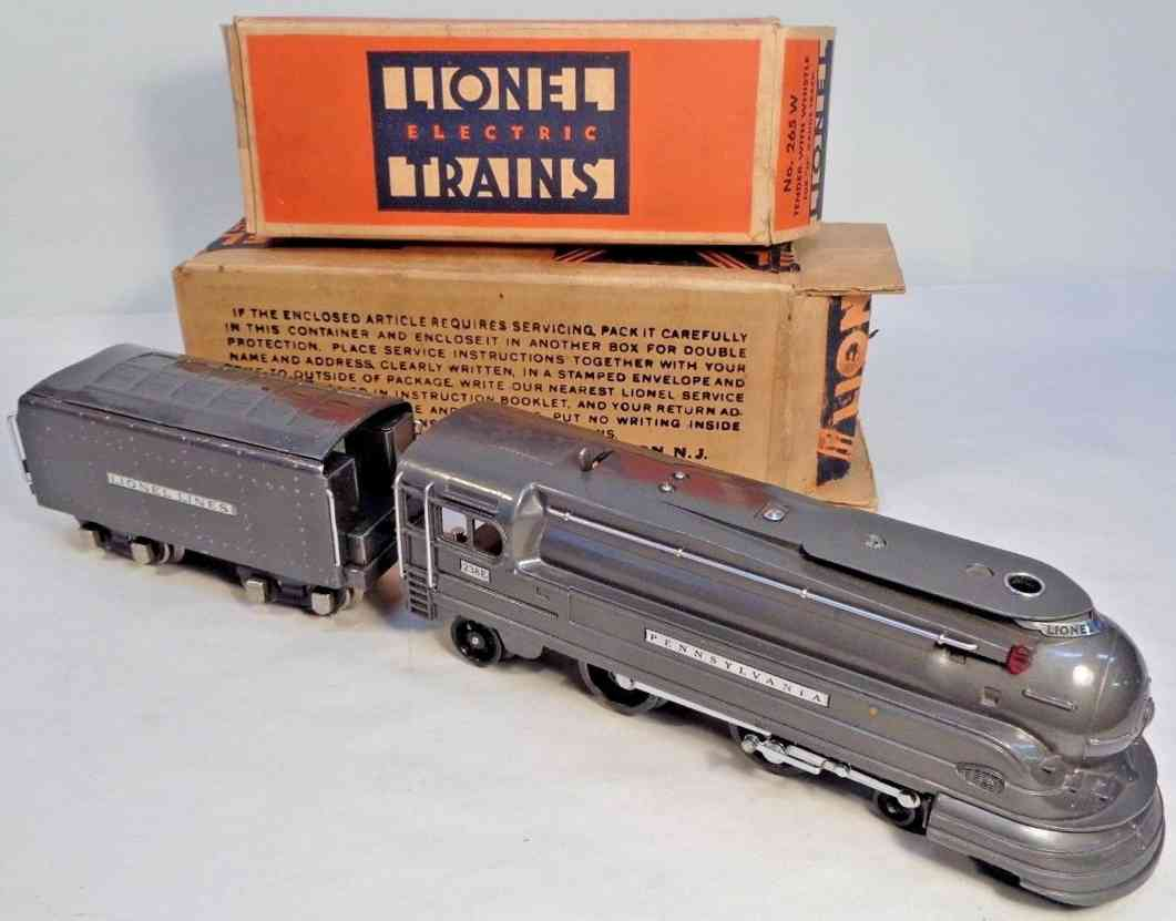 lionel 238e railway toy engine streamlined prr torpedo locomotive tender 265w gauge 0