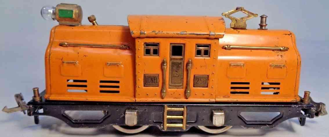 lionel 250 railway toy engine electric locomotive orange gauge 0