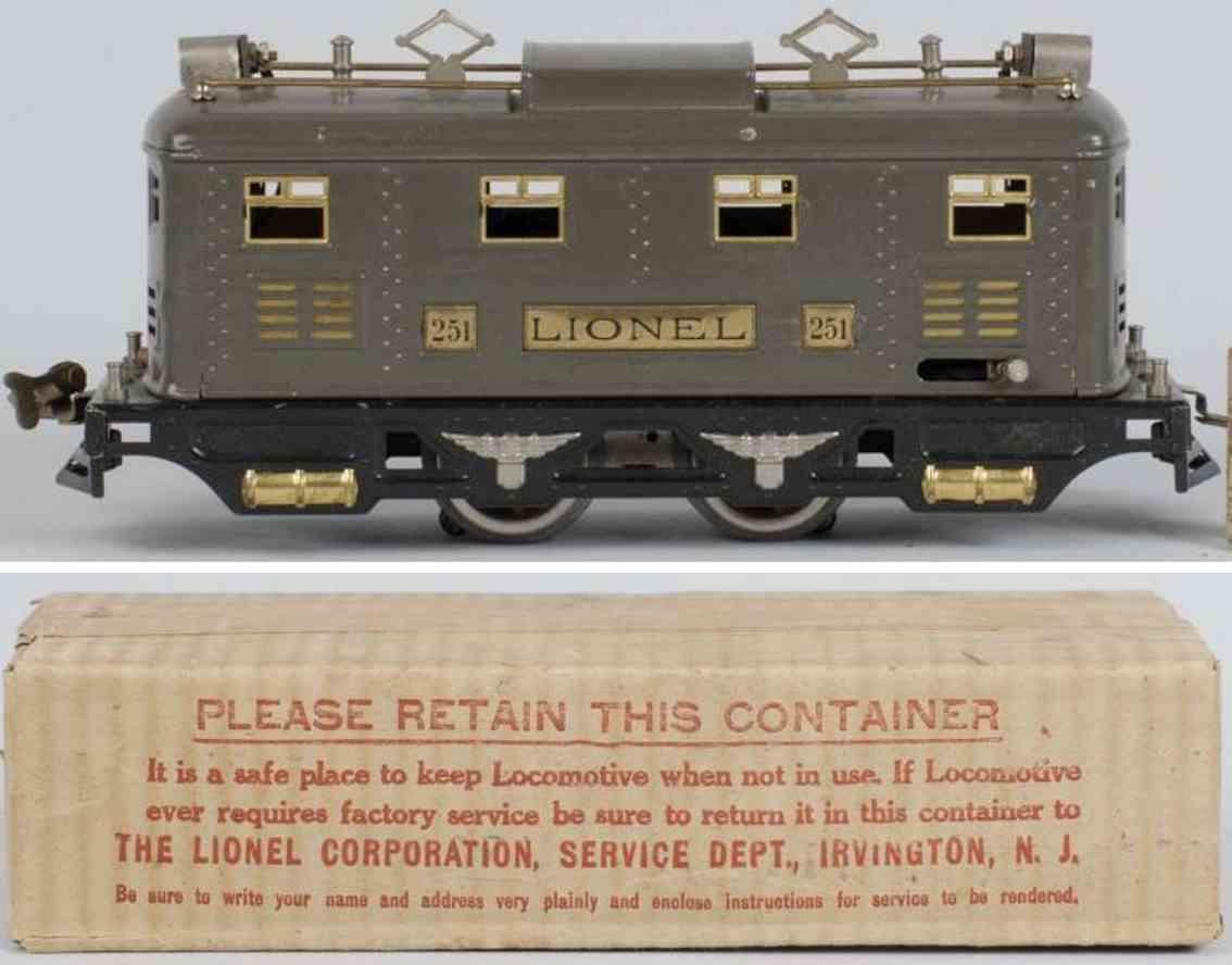 lionel 251 spielzeug eisenbahn elektro lokomotive 0-b-0 grau