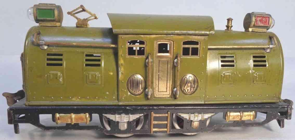 lionel 254 1927 railway toy engine elecktric locomotive painted olivegreen brass gauge 0