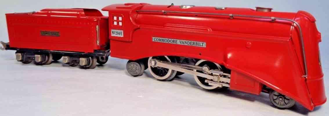 lionel 264 e railway toy engine comet locomotive red tender 261t gauge 0