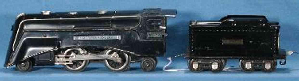 lionel 265E/I spielzeug eisenbahn stromlinienlokomotive mit tender 261tx in schwarz spur 0
