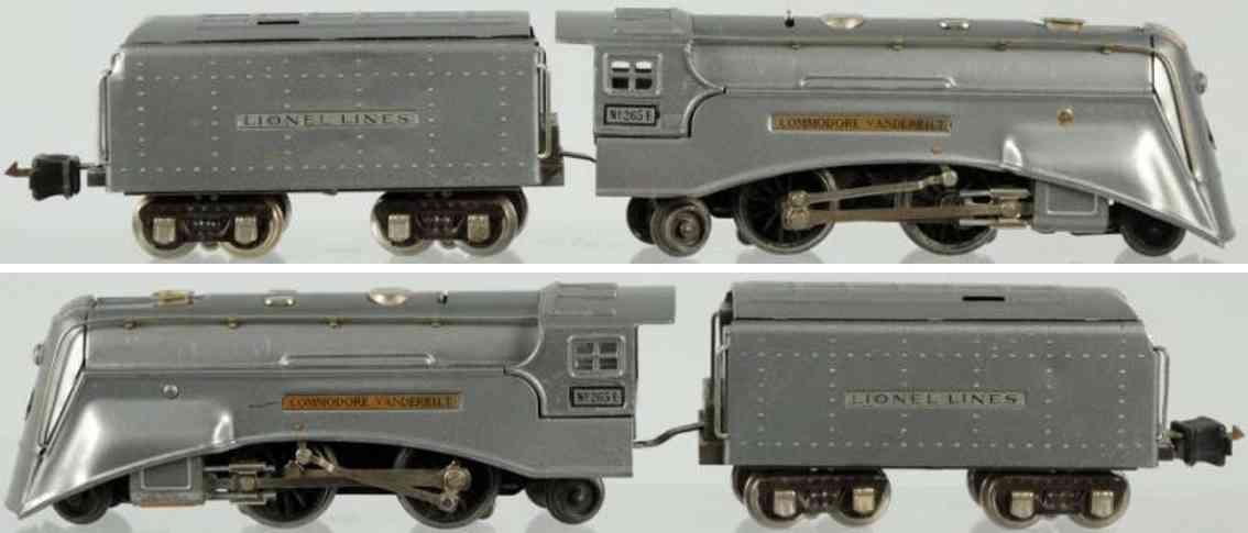 lionel 265E spielzeug eisenbahn commoder vanderbilt lokomotive mit tender in kanonen grau