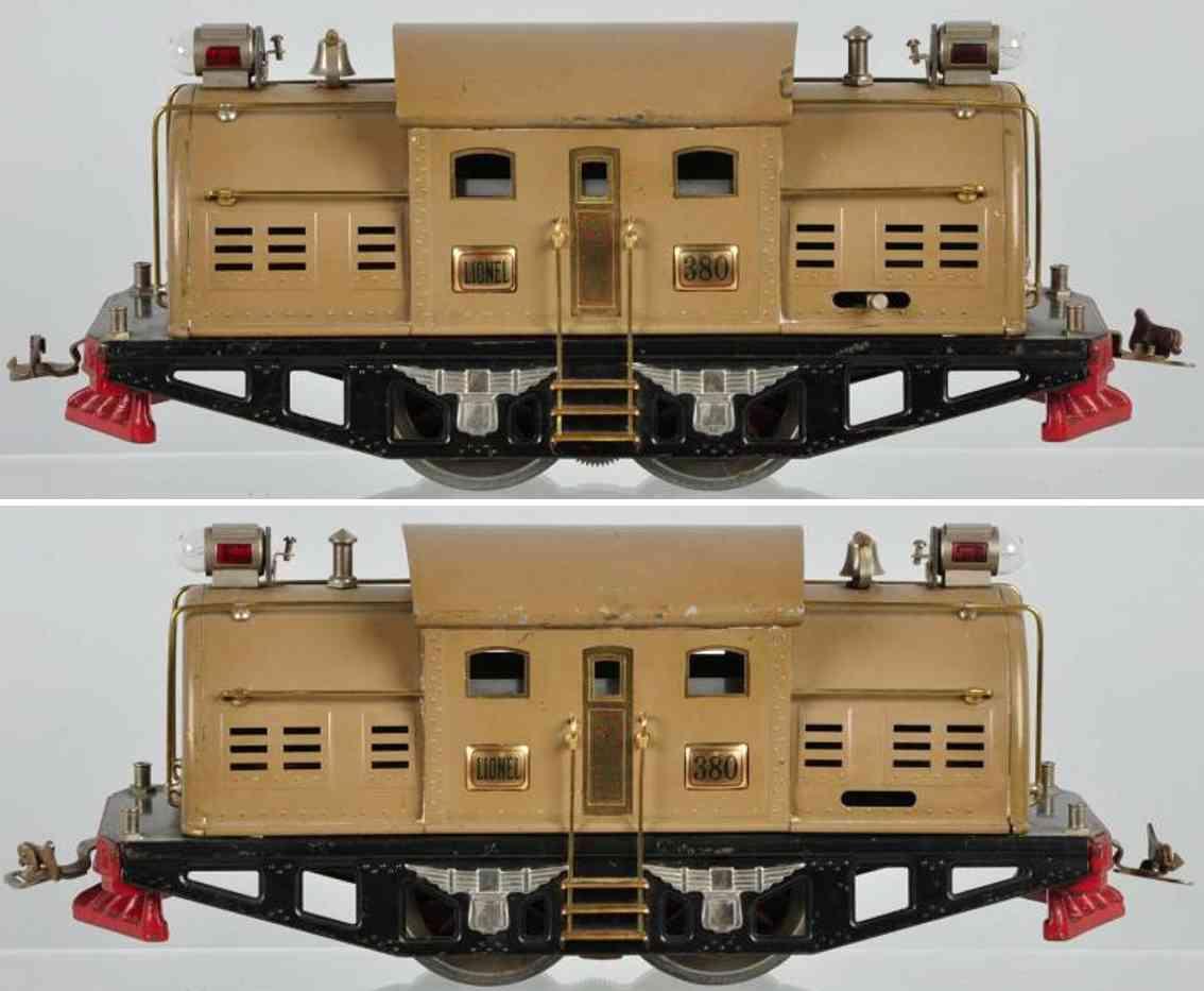 lionel 380 spielzeug eisenbahn elektro-lokomotive sandfarben standard gauge