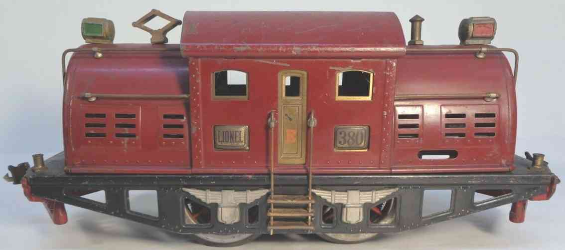lionel 380e railway toy engine electric locomotive maroon brass standard gauge