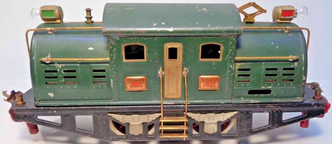 lionel 380e spielzeug eisenbahn elektrolokomotive gruen messing  standard gauge