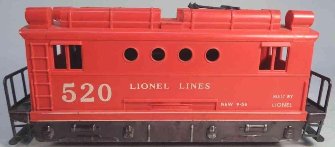 lionel 520 railway toy engine boxcab electric locomotove red black gauge 0