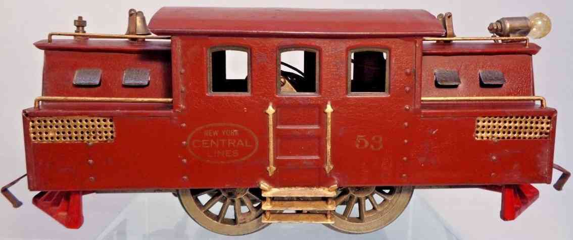 lionel 53 railway toy engine electric locomotive in maroon standard gauge