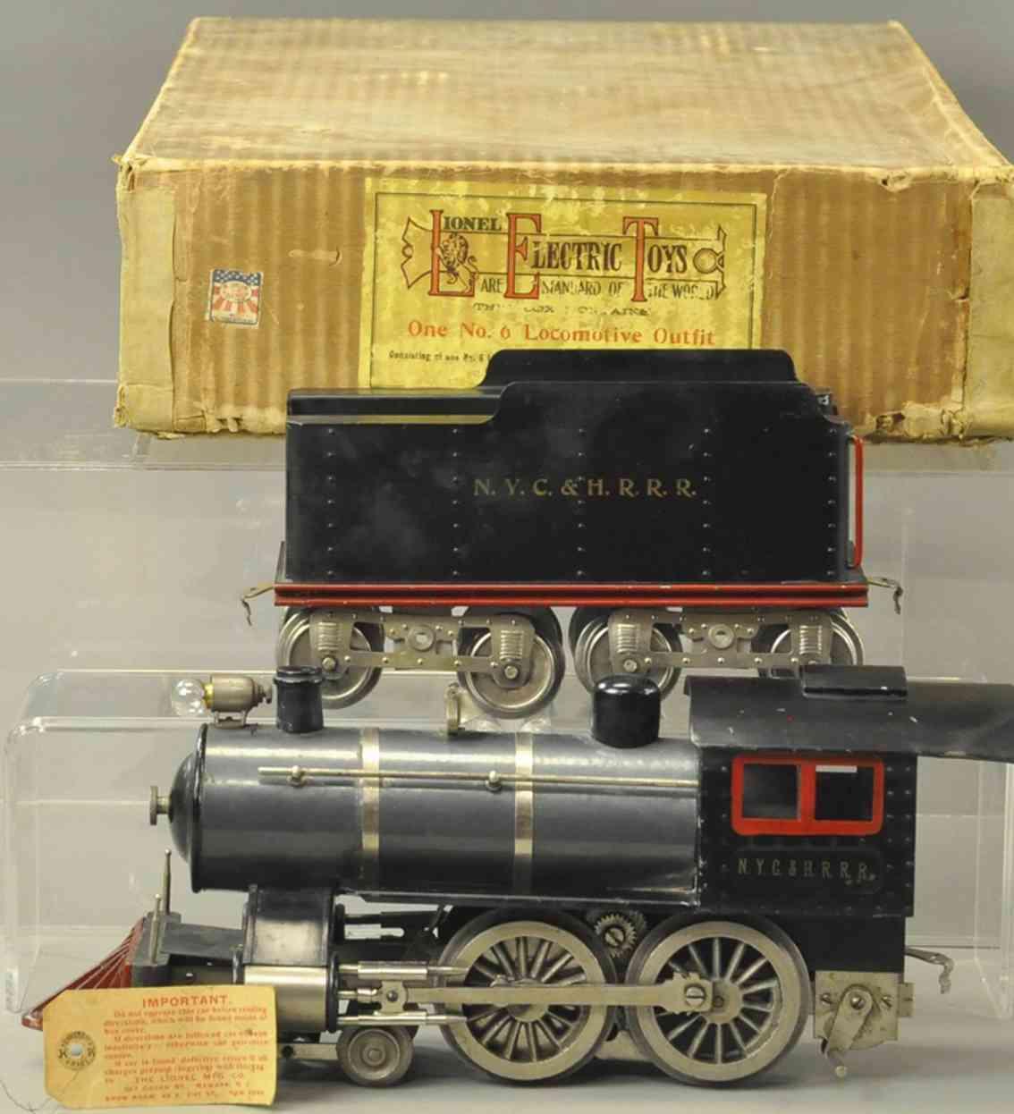 lionel 6 spielzeug eisenbahn dampflokomotive nyc hrrr standard gauge