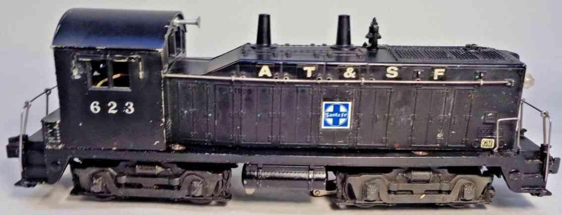 lionel 623 railway toy engine sante fe diesel switcher locomotive black gauge 0
