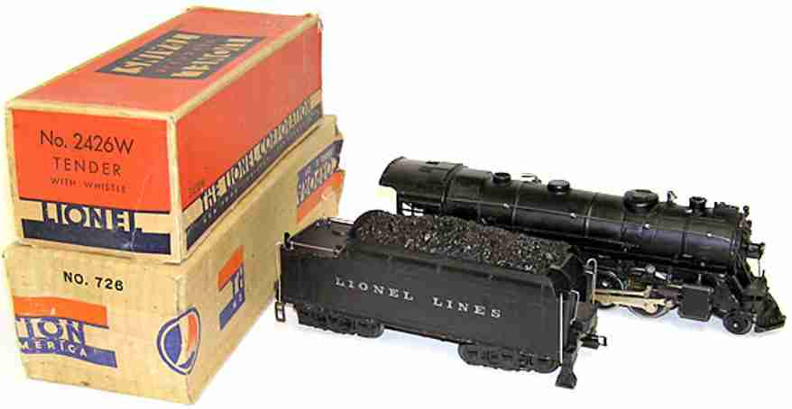 lionel 726 steam engine 2426w tender gauge 0