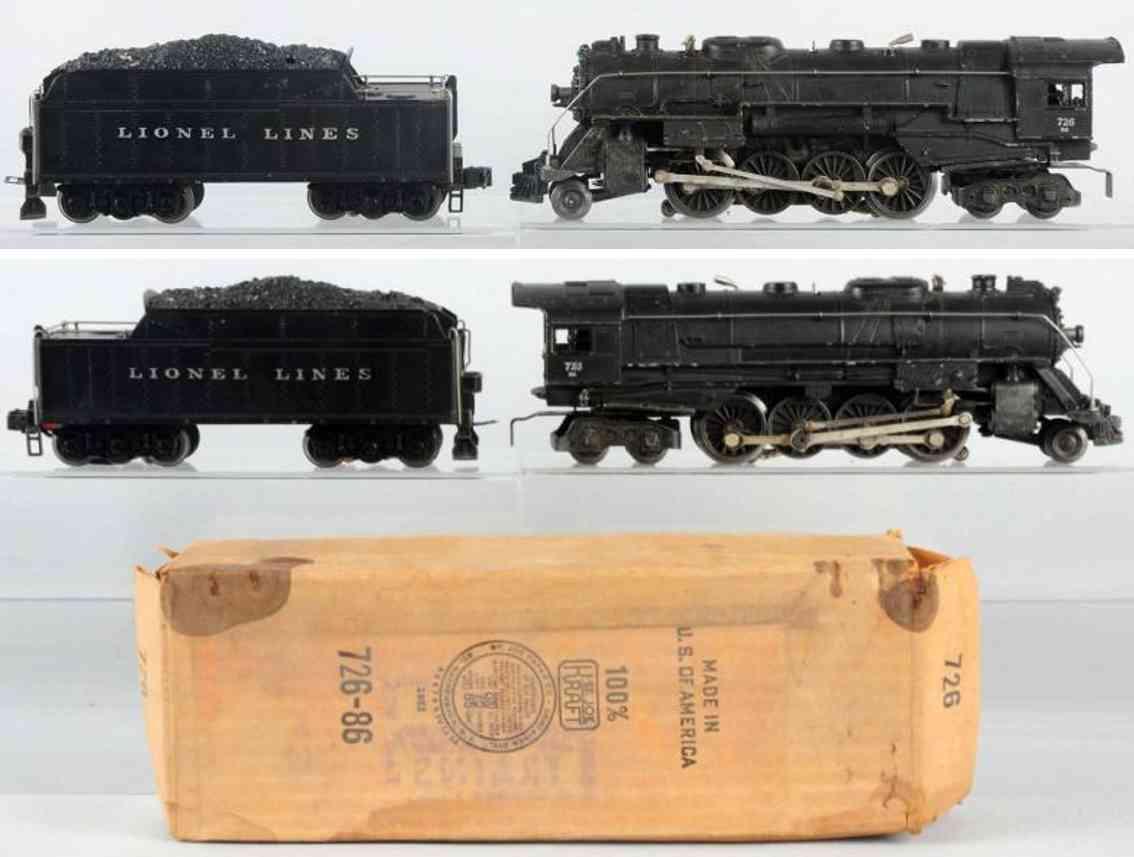 lionel 726 2046w eisenbahn dampflokomotive tender spur 0