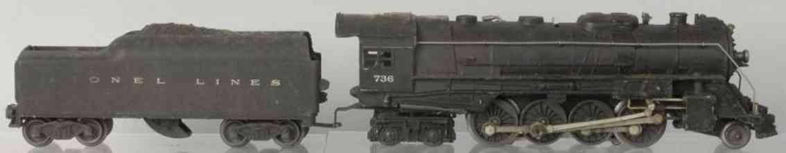 lionel spielzeug eisenbahn dampflokomotive 736 lines tender 2046w