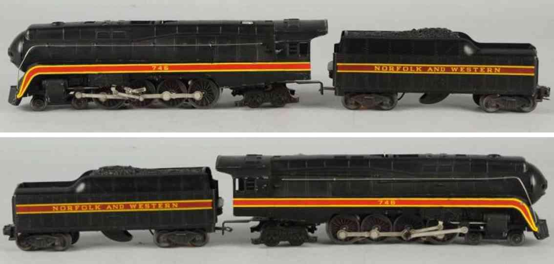lionel 746 w railway toy engine tender norfolk & western gauge 0