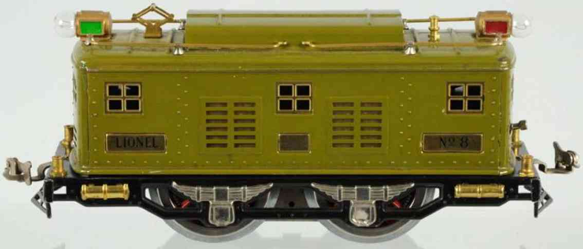 lionel 8 ype IV railway toy engine electric style engine in olive green standard gauge