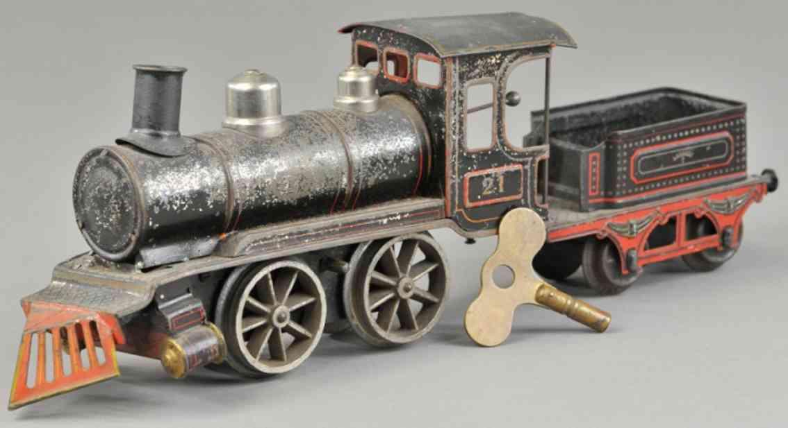 maerklin ab 1031 amerikanische uhrwerk-lokomotive  tender blech schwarz spur 1