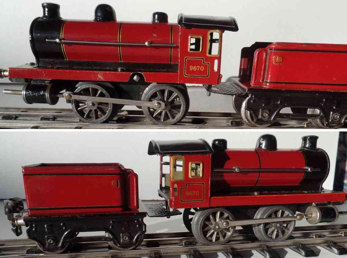 maerklin 960 spielzeug eisenbahn uhrwerk-dampflokomotive in rot spur 0