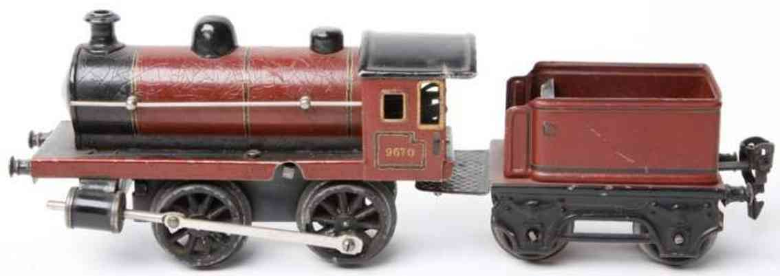 marklin maerklin 9670 railway toy engine clockwork steam locomotive tender red gauge 0