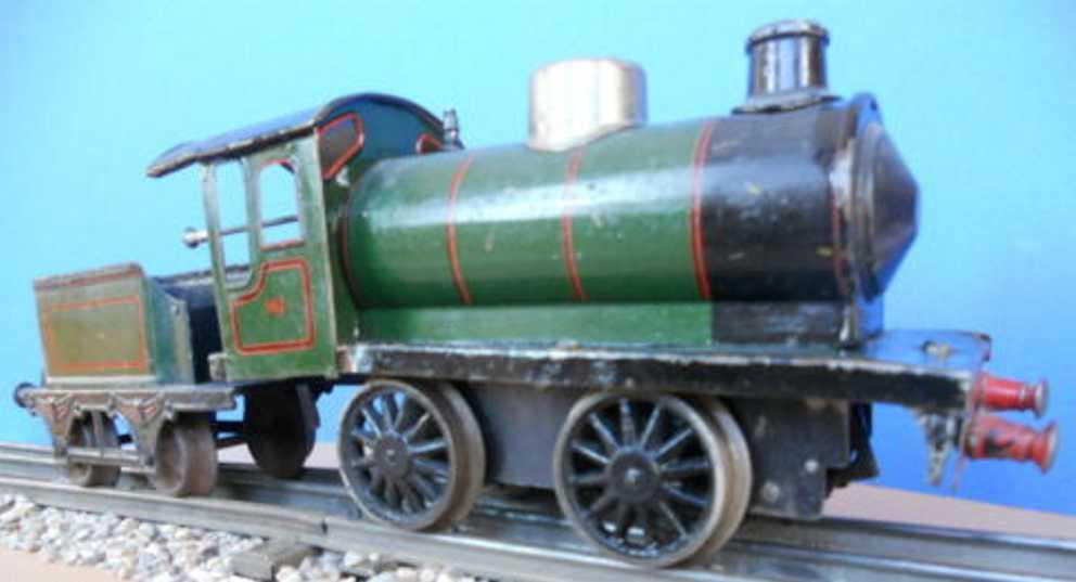 maerklin 981 spielzeug eisenbahn uhrwerk-dampflokomotive gruen schwarz spur 1