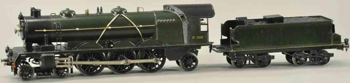 maerklin h 1021 gruen schwarz spielzeug eisenbahn uhrwerk-dampflokomotive tender spur 1