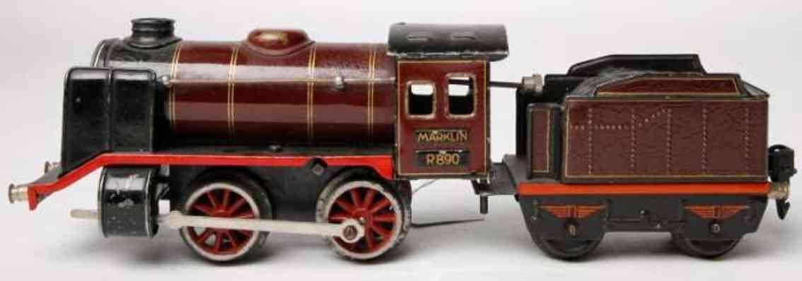 maerklin r 890 1932 spielzeug eisenbahn uhrwerk-dampflokomotive weinrot  spur 0