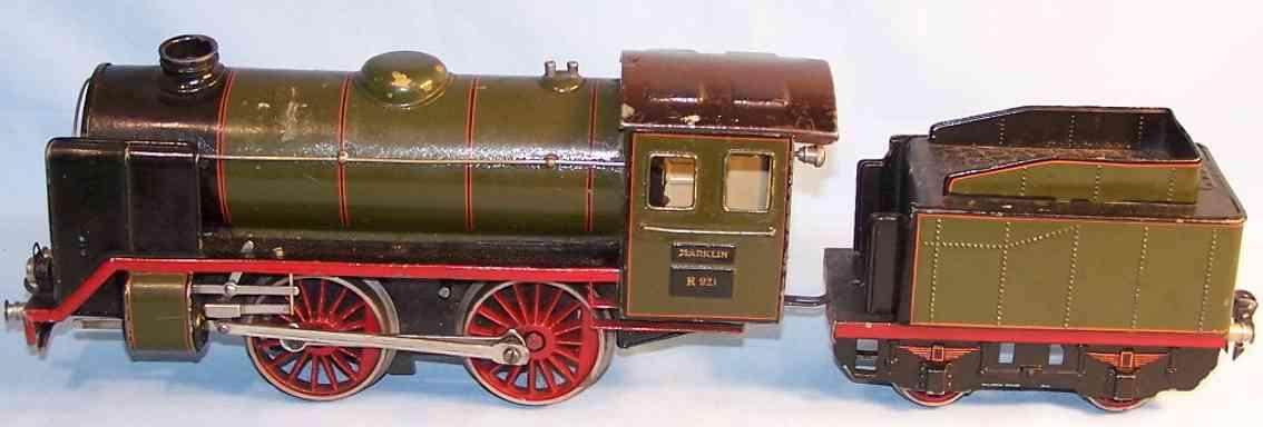 maerklin r 921 spielzeug eisenbahn uhrwerk-dampflokomotive gruen schwarz spur 1