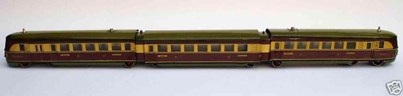 maerklin tw 66/12940/3 p eisenbahn 3-teiliger schnelltriebwagen violett creme spur 0
