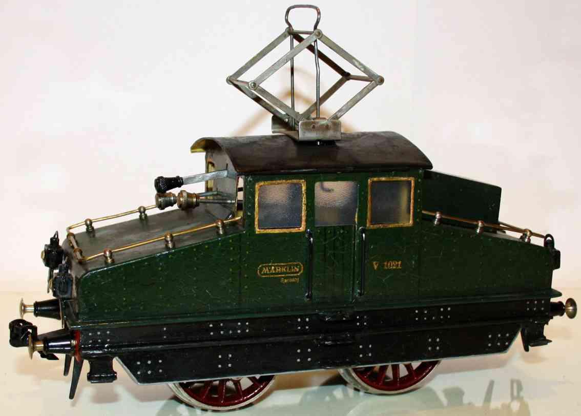 maerklin v 1021 spielzeug eisenbahn vollbahn-uhrwerklokomotive gruen schwarz spur 1