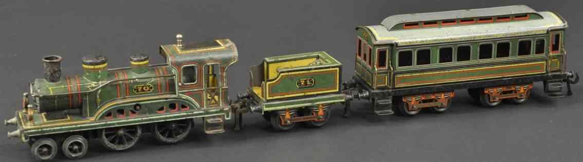 rossignol 70 71 eisenbahn uhrwerk-dampflokomotive tender personenwagen spur 0
