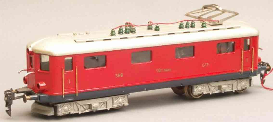 seiler spielzeug eisenbahn lokomotive elektrolokomotive re 4/4' gotthard, bo'bo', in rot, silbergr