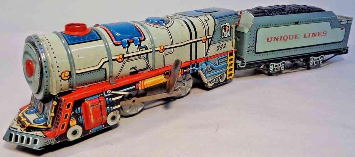 unique art manufacturing company 742 spielzeug eisenbahn uhrwerk-lokomotive tender